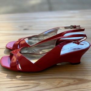 Shiny red sandals sz 8.5